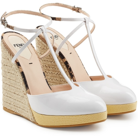 4286a6d45d321 NIB FENDI ELODIE WHITE WEDGE HEELS